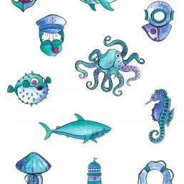 Diseño cartel motivos marineros
