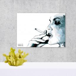 Ilustración Digital Chica Fumando