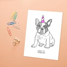 Postal Bulldog Unicornio