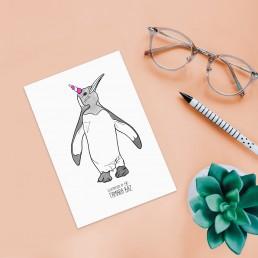 Postal pingüino unicornio
