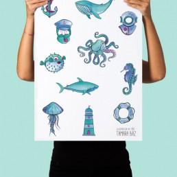 Diseño Poster Motivos Marineros